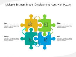 Multiple Business Model Development Icons With Puzzle