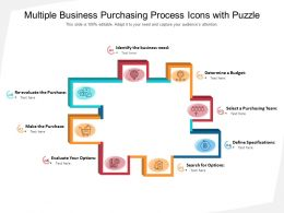 Multiple Business Purchasing Process Icons With Puzzle