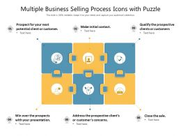 Multiple Business Selling Process Icons With Puzzle