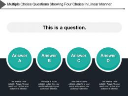 Multiple Choice Questions Showing Four Choice In Linear Manner