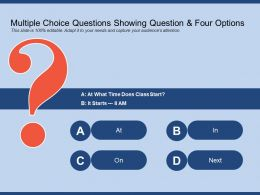 Multiple Choice Questions Showing Question And Four Options