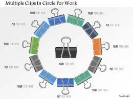 Multiple Clips In Circle For Work Powerpoint Template