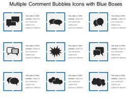 Multiple Comment Bubbles Icons With Blue Boxes