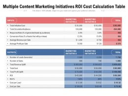 Multiple Content Marketing Initiatives ROI Cost Calculation Table