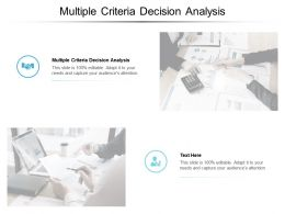 Multiple Criteria Decision Analysis Ppt Powerpoint Presentation Infographics Background Cpb
