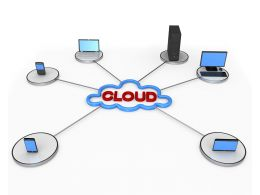Multiple Devices Connected In Network Displaying Cloud Computing Stock Photo