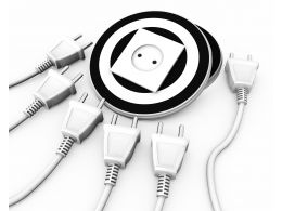 Multiple Electrical White Plugs With One Socket Business Target Stock Photo