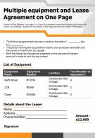 Multiple Equipment And Lease Agreement On One Page Presentation Report Infographic PPT PDF Document