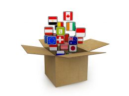 Multiple Flag Icons Coming Out From The Box Stock Photo