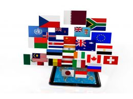 Multiple Flag Icons In Tablet Stock Photo