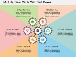 Multiple Gear Circle With Text Boxes Flat Powerpoint Design