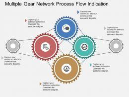 Multiple Gear Network Process Flow Indication Flat Powerpoint Design