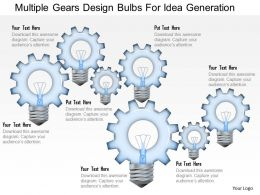Multiple Gears Design Bulbs For Idea Generation Powerpoint Template