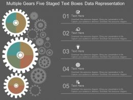 Multiple Gears Five Staged Text Boxes Data Representation Flat Powerpoint Design