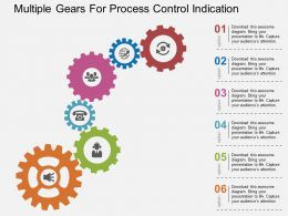 Multiple Gears For Process Control Indication Flat Powerpoint Design