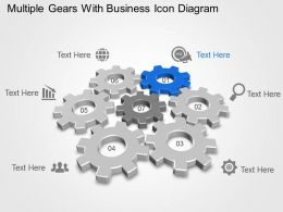 Multiple Gears With Business Icon Diagram Powerpoint Template Slide