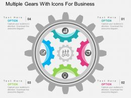 Multiple Gears With Icons For Business Flat Powerpoint Design