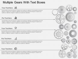 Multiple Gears With Text Boxes Flat Powerpoint Design