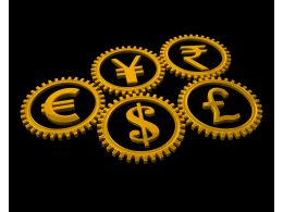 Multiple Graphic Of Gears With Currency Symbols Stock Photo