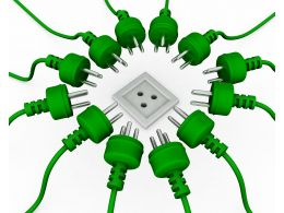 Multiple Green Plugs With One White Socket Showing Business Target Stock Photo