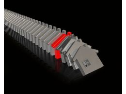 Multiple House Shaped Dominoes With One Red To Show Leadership Stock Photo