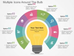 multiple_icons_around_the_bulb_flat_powerpoint_design_Slide01