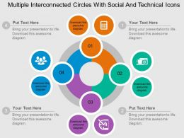 Multiple Interconnected Circles With Social And Technical Icons Flat Powerpoint Design