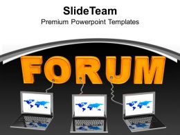Multiple Laptop Wired To Forum Business PowerPoint Templates PPT Themes And Graphics 0213
