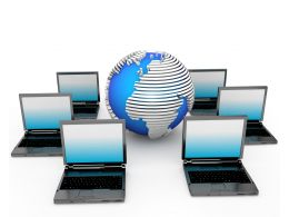 Multiple Laptops With Globe Networking Concept Stock Photo