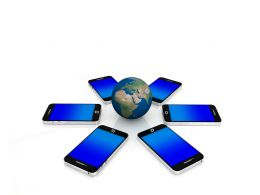 multiple_mobiles_with_blue_screen_around_the_globe_stock_photo_Slide01