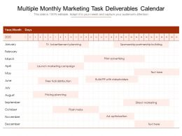 Multiple Monthly Marketing Task Deliverables Calendar