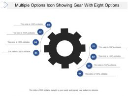 Multiple Options Icon Showing Gear With Eight Options