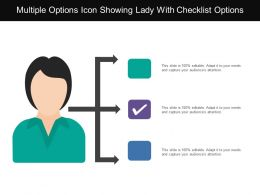 Multiple Options Icon Showing Lady With Checklist Options