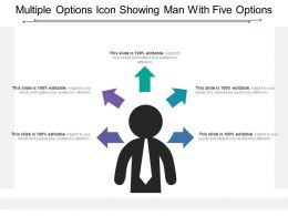 Multiple Options Icon Showing Man With Five Options