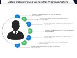 Multiple Options Showing Business Man With Seven Options