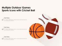 Multiple Outdoor Games Sports Icons With Cricket Ball