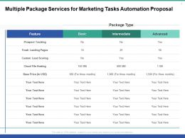 Multiple Package Services For Marketing Tasks Automation Proposal Ppt Presentation Show