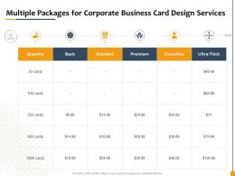 Multiple Packages For Corporate Business Card Design Services Ppt Powerpoint Gallery