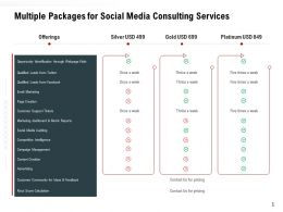 Multiple Packages For Social Media Consulting Services Ppt Powerpoint Graphic Design