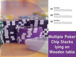 Multiple Poker Chip Stacks Lying On Wooden Table
