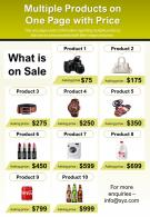 Multiple Products On One Page With Price Presentation Report Infographic PPT PDF Document