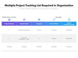 Multiple Project Tracking List Required In Organization