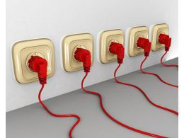 Multiple Red Colored Plugs With Sockets Team Stock Photo