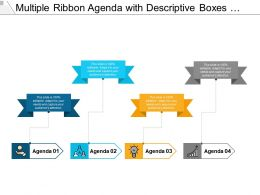 Multiple Ribbon Agenda With Descriptive Boxes Key And Meeting