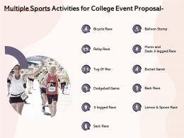 Multiple Sports Activities For College Event Proposal Ppt Powerpoint Inspiration