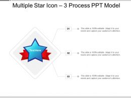 Multiple Star Icon 3 Process PPT Model