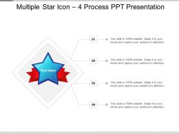 Multiple Star Icon 4 Process PPT Presentation