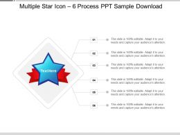 Multiple Star Icon 6 Process PPT Sample Download