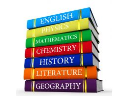 Multiple Subjects Textbooks Stock Photo