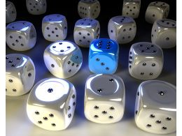 Multiple White Glossy Dice With One Blue Dice To Show Leadership Stock Photo